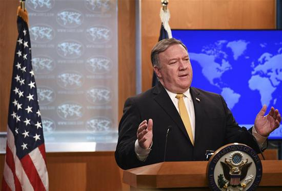 U.S. Secretary of State Mike Pompeo speaks during a press briefing in Washington D.C., the United States, Oct. 3, 2018. U.S. Secretary of State Mike Pompeo said here on Wednesday that the United States is terminating the 1955 Treaty of Amity with Iran. (Xinhua/Liu Jie)