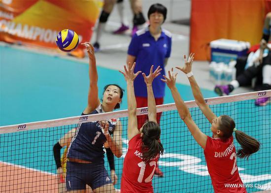 中国在2018年女排世锦赛上以3-1击败保加利亚