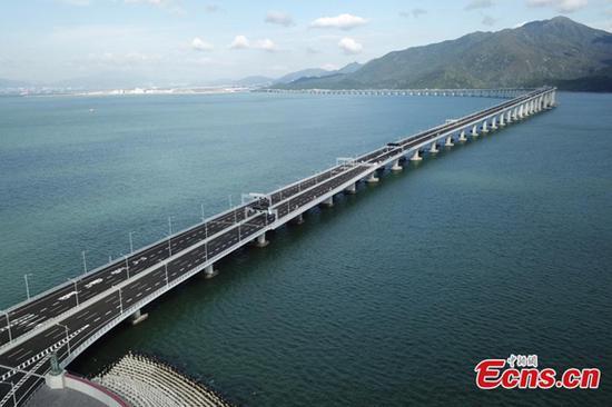Photo taken on Sept. 18, 2018 shows the Hong Kong-Zhuhai-Macao Bridge in south China.  (Photo: China News Servcie/ Li Zhihua)