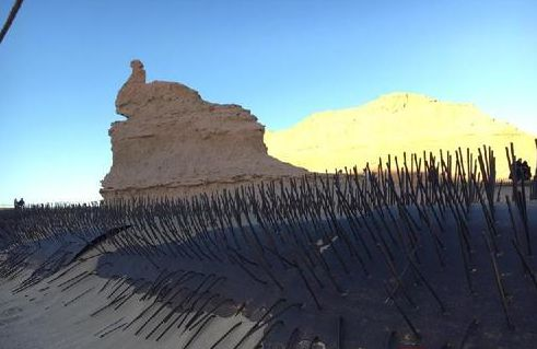 National geopark in Gansu installs fences around ancient landform to protect it from tourists