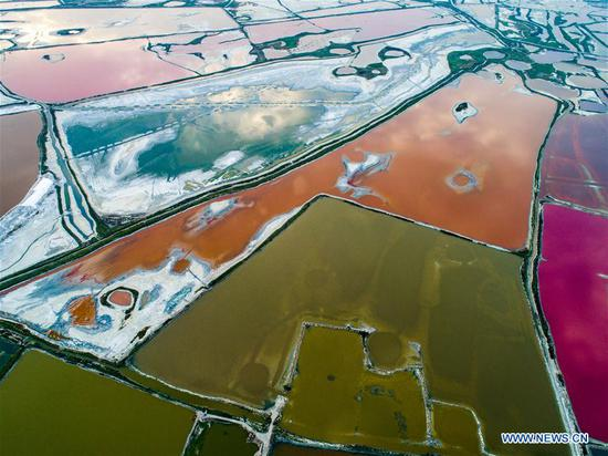 Patchwork of colors punctuate Shanxi's Yuncheng salt lake