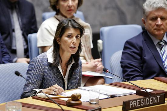 File photo shows Nikki Haley chairs a Security Council meeting at the UN headquarters in New York, on Sept. 5, 2018. U.S. President Donald Trump said on Tuesday he has accepted Nikki Haley's resignation as the country's ambassador to the United Nations. (Xinhua/Li Muzi)