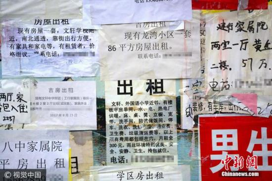 Advertisements of apartments for rent. (Photo/VCG)