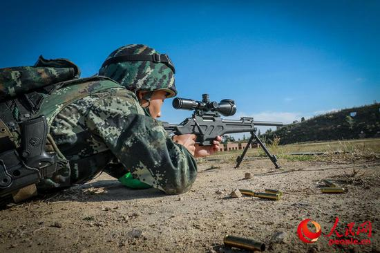 China's armed police force carries out sniper training