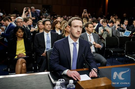 Facebook CEO Mark Zuckerberg (C) testifies at a joint hearing of the Senate Judiciary and Commerce committees on Capitol Hill in Washington D.C., United States, on April 10, 2018. (Xinhua/Ting Shen)