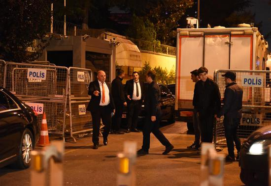 Photo taken on Oct. 15, 2018 shows the outside of Saudi consulate in Istanbul, Turkey. A Turkish team entered the Saudi consulate in Istanbul on Monday evening to conduct a search over the disappearance of the Saudi journalist Jamal Khashoggi, live broadcast showed. (Xinhua/He Canling)