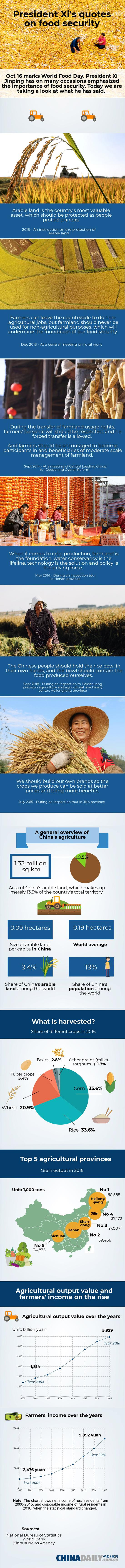 President Xi's quotes on food security