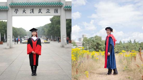 Zhou Di (L) from Wuhan University, and Shan Yuli, a research fellow at the University of East Anglia, right, won the prestigious Green Talents Award. (Photo/CGTN)