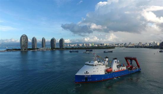 The oceanic research vessel Tansuo-1, with the manned submersible Deep Sea Warrior on board, is pictured in Sanya, south China's Hainan Province, Oct. 3, 2017. The Institute Deep-Sea Science and Engineering (IDSSE) of the Chinese Academy of Sciences (CAS) is based in Sanya. (Xinhua/Guo Cheng)