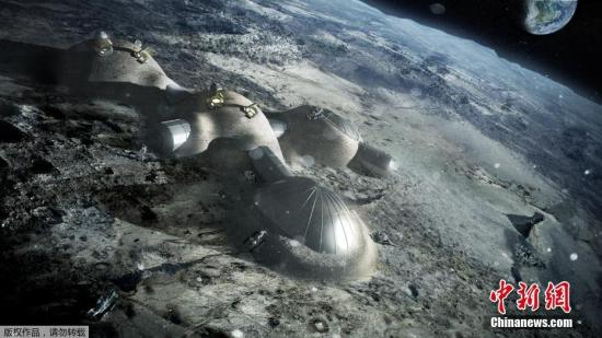 A 3D-printed picture of an imaginary moon base. (Photo/Agencies)