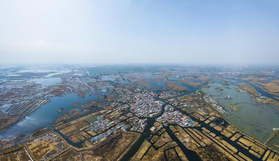 An aerial view of the Xiongan New Area. (Photo/Xinhua)