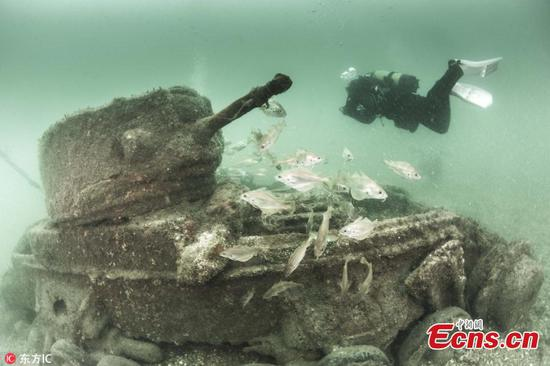 Photos show sunken British tanks key to winning D-Day