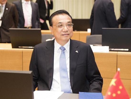 中国国务院总理李克强在2018年10月19日在比利时布鲁塞尔举行的第十二届亚欧会议(ASEM)峰会上致辞。(新华社/黄景文)