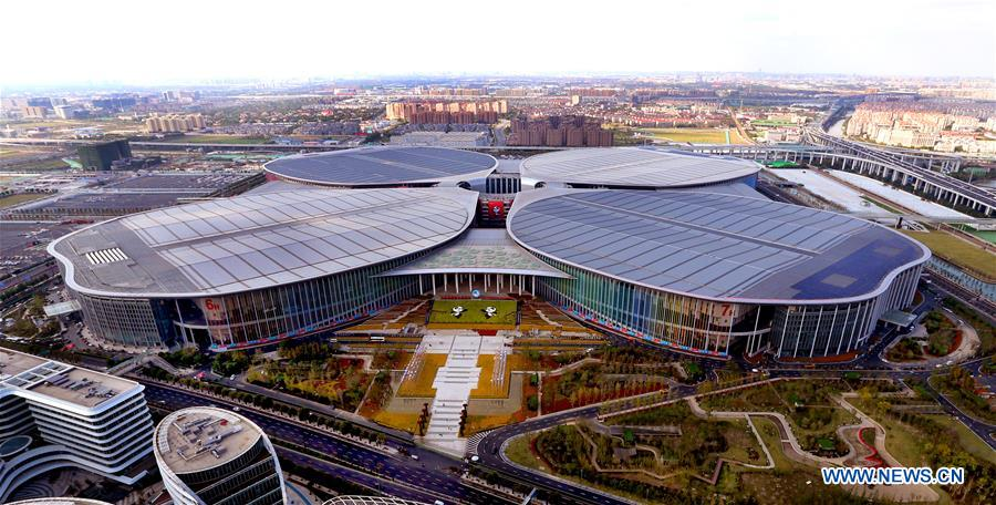 Aerial photo taken on Oct. 19, 2018 shows the National Exhibition and Convention Center (Shanghai), the main venue to held the upcoming first China International Import Expo (CIIE), scheduled to be held from Nov. 5 to 10, in Shanghai, east China. (Xinhua/Fan Jun)