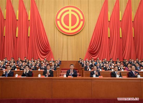 Chinese leaders Xi Jinping, Li Keqiang, Li Zhanshu, Wang Yang, Wang Huning, Zhao Leji and Han Zheng attend the opening session of the 17th National Congress of the All-China Federation of Trade Unions (ACFTU) in Beijing, capital of China, Oct. 22, 2018. (Xinhua/Li Xueren)
