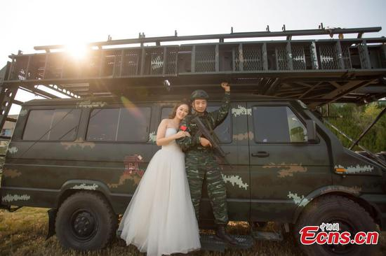 Wedding photos shot at armed police barrack