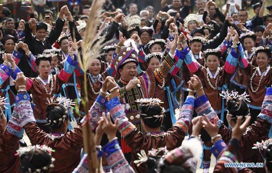Dong ethnic group celebrates harvest festival in China's Guangxi