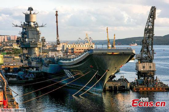 Russia's aircraft carrier damaged after floating dock sinks