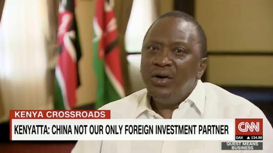 Video screenshot from CNN's interview with Kenyan President Uhuru Kenyatta
