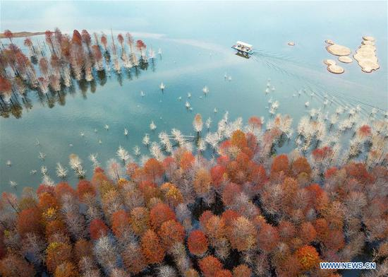 Autumn scenery of Qinglongwan reservoir in east China
