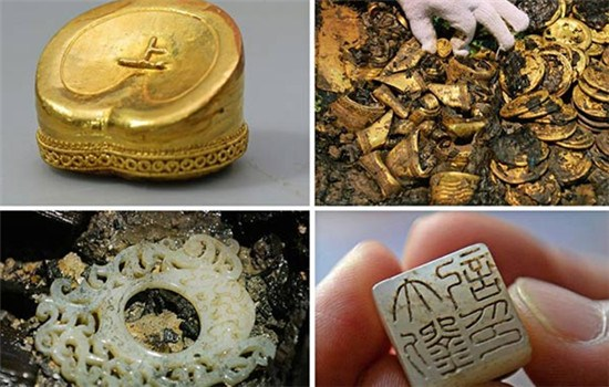 A hoof-shaped ingot, gold cakes, a jade seal and a jade pendant are unearthed from the Haihunhou tomb. (Photo/Xinhua)