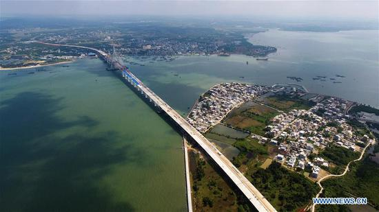 Puqian Bridge under construction in south China's Hainan