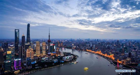 Aerial view of Shanghai, host city of 1st China International Import Expo