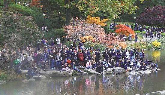 People gather at the Pond in New York's Central Park to enjoy the rare appearance of a male Mandarin Duck. (KONG WENZHENG / CHINA DAILY)