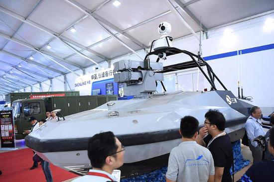 Country's first unmanned missile boat on display at Airshow China