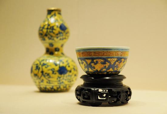 Porcelains of Ming Dynasty imperial kilns on display at Palace Museum