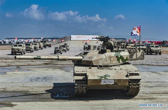 Ground military equipments displayed during Airshow China in Zhuhai