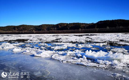 Ice drifting on the Heilongjiang River