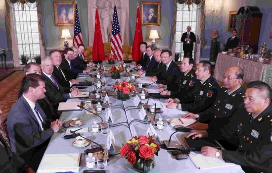 China and the US hold their second round of Diplomatic and Security Dialogue in Washington, DC, November 9, 2018. /Xinhua Photo