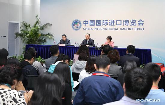A news conference is held after the first China International Import Expo (CIIE) concluded in east China's Shanghai, Nov. 10, 2018. Deals for intended purchase of goods and services within a year totaled 57.83 billion U.S. dollars, Sun Chenghai, deputy director of the CIIE Bureau, told a news conference after the expo wrapped up. (Xinhua/Fang Zhe)