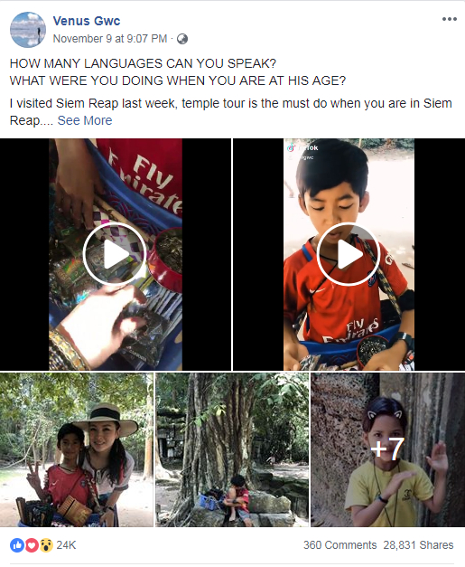 Facebook user @Venus Gwc posted the video of the talented Cambodian boy on her account and soon went viral. /Screenshot from Facebook
