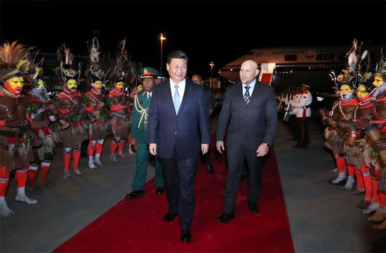 President Xi Jinping arrives at Papua New Guinea's capital Port Moresby on Thursday to pay a state visit to the country and attend the Asia-Pacific Economic Cooperation Economic Leaders' Meeting. (JU PENG/XINHUA)