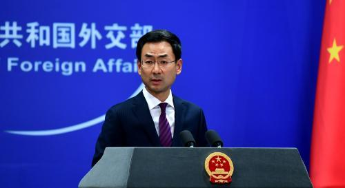 Foreign Ministry spokesman Geng Shuang speaks at a news briefing in Beijing. (Photo/China News Service)