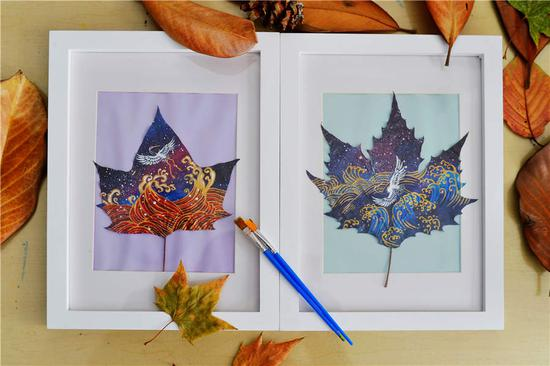 Qingdao students make creative leaf art
