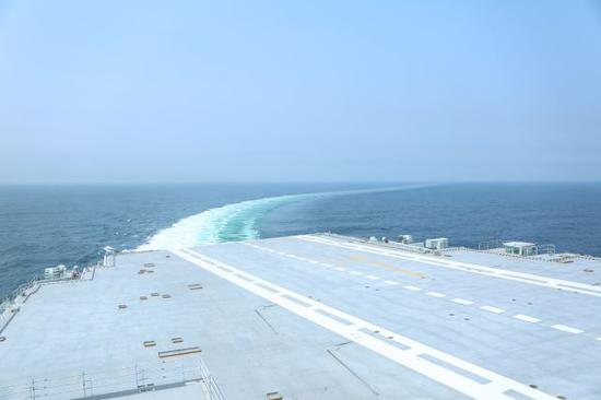 China's first domestically designed aircraft carrier set out on its debut sea trial on May 13, 2018. (Photo/Xinhua)