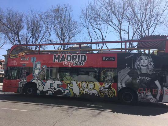 A Madrid city tour bus. (CGTN Photo)