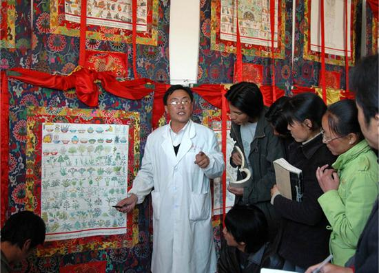 Sonam Tsering, a Manpa (traditional physician), introduces the medicinal herbs to students for the Lum bathing recorded in the medical thangka of Gyud zhi (the Four Trantras) (Photo provided by the National Center for the Safeguarding of the Intangible Cultural Heritage in China)