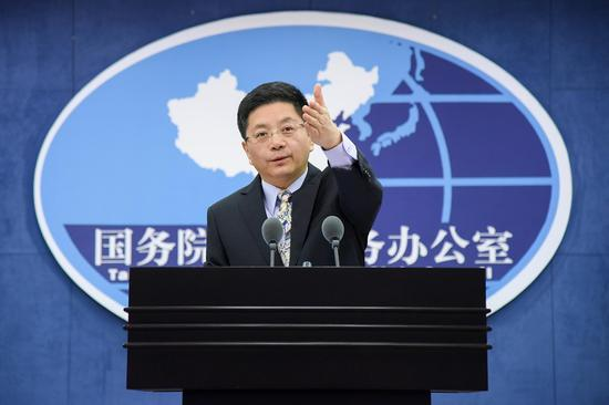 File Photo: Ma Xiaoguang, spokesperson for the Taiwan Affairs Office of the State Council. (Photo/Xinhua)