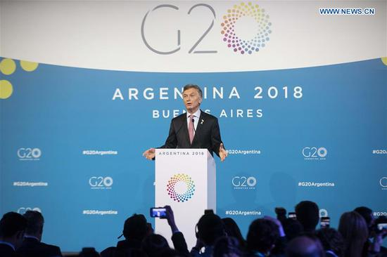 Argentine President Mauricio Macri addresses a press conference during the 13th summit of the Group of 20 (G20) in Buenos Aires, Argentina, on Dec. 1, 2018. The 13th G20 summit concluded here on Saturday. (Xinhua/Li Ming)