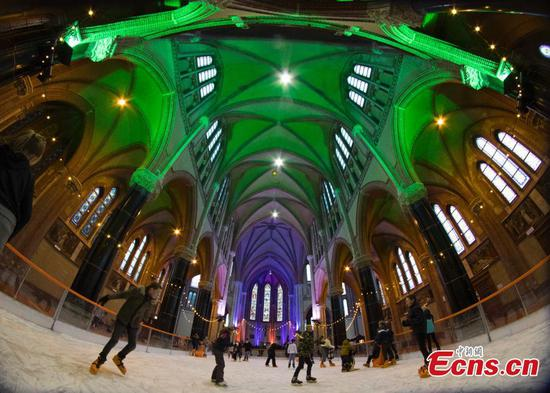 Temporary ice rink in Netherlands'church