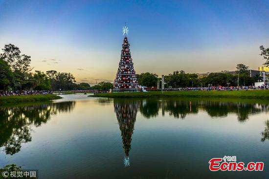 Huge Christmas tree seen in summer Sao Paulo