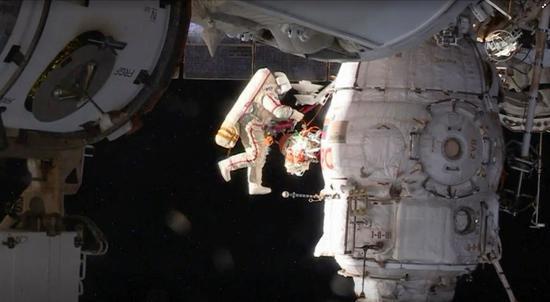 Russian cosmonauts find hole on Soyuz spacecraft during spacewalk
