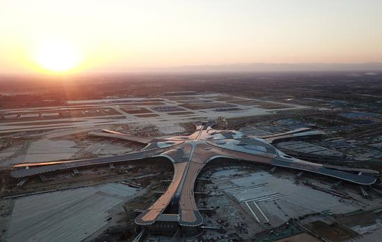 An aerial photo shows the construction site of Beijing's new airport in Daxing district in Beijing, Oct 2, 2018. [Photo/Xinhua]