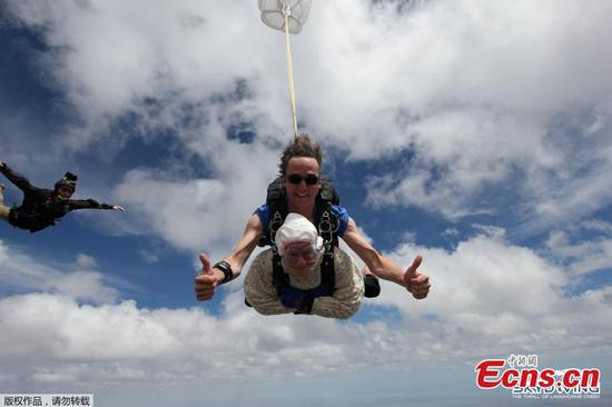 102-year-old woman breaks record for world's oldest skydiver