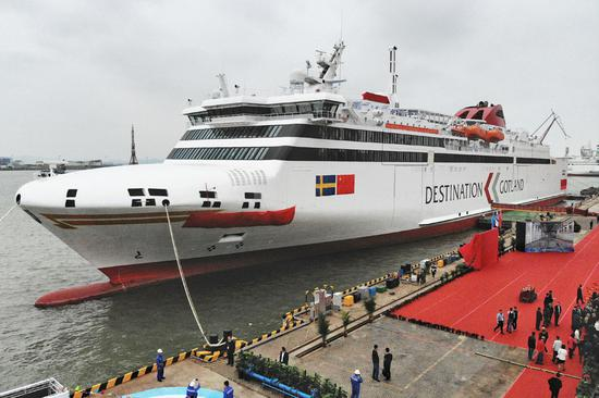 The world's first dual-fuel cruiseferry, Visborg, built by China State Shipbuilding Corp, will soon be delivered in Guangzhou, Guangdong province, to Rederi AB Gotland, Sweden's oldest cruise company. [Photo by TAN QINGJU/FOR CHINA DAILY]