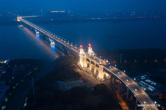 Night view of Nanjing Yangtze River Bridge after renovation